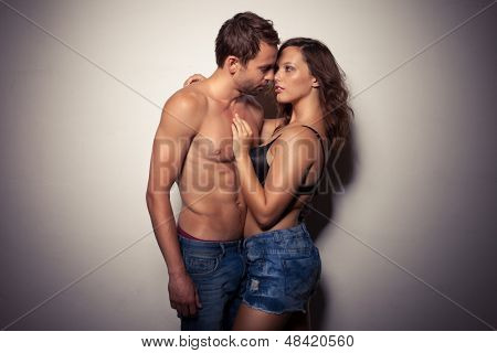 Shot of a passionate young people in love
