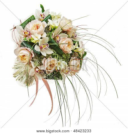 Flower Arrangement Of Peon Flowers And Orchids Isolated On White Background.