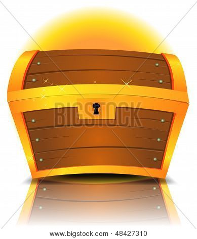 Illustration of a cartoon closed treasure chest made with gold and wood with reflection effect poster