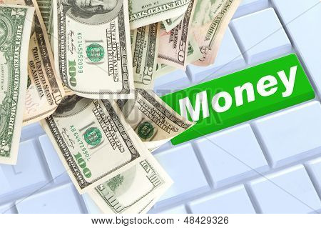 Mony On Keyboard Enter Button With Money