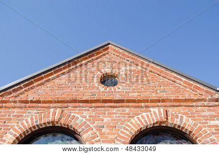 Round Window Arch Retro Brick House Roof Blue Sky