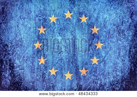 Official flag of European Union on the wooden background poster