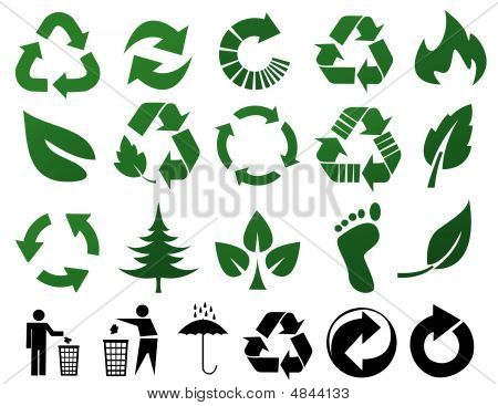 environmental recycling icons on white background vector illustration poster