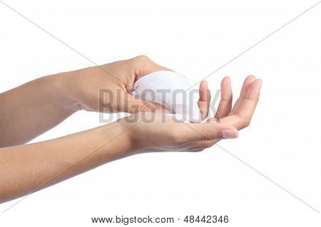 Woman Cleaning Her Hands With A Wet Baby Wipe