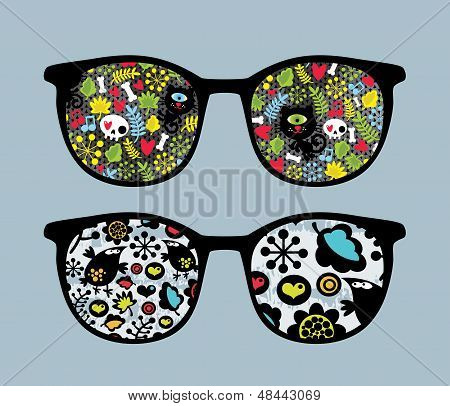 Retro sunglasses with cats and birds reflection in it. Vector illustration of accessory - isolated eyeglasses. poster