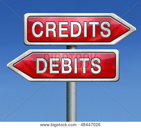 credits or debits financial transaction and bookkeeping for current account debit or credit cards