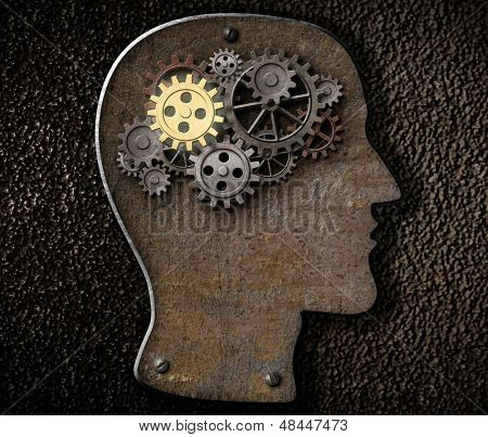 Brain mechanism gears and cogs made from rusty metal