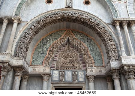 Venice - marble columns in the portal of the balica of St. Mark