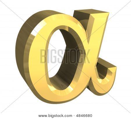 Alpha Symbol In Gold (3D)