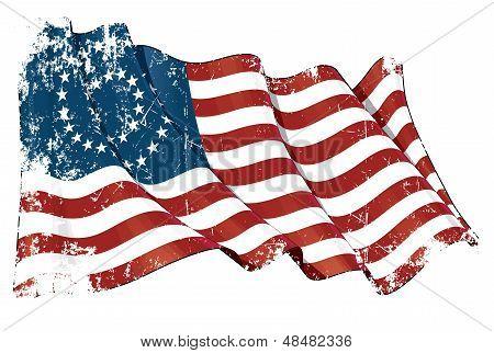 Us Civil War Union -37 Star Medallion- Scratched Flag