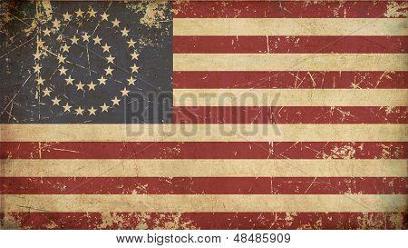 Us Civil War Union -37 Star Medalion- Flag Flat - Aged