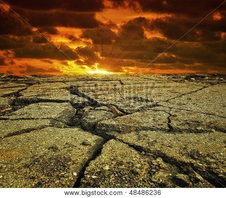 Sunset On A Hot Dry Landscape