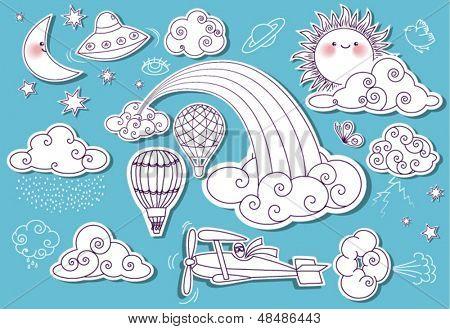 Doodle-Elemente: Himmel mit Sonne, Mond, Sterne, Regenbogen und Wolken und einschließlich fliegende Untertasse biplan