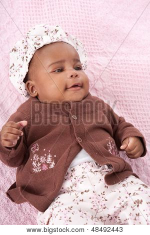 3 Month Old Adorable Little Baby African American Girl Portrait on White Background