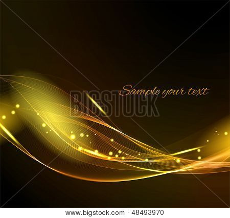 Abstract black background with gold light lines