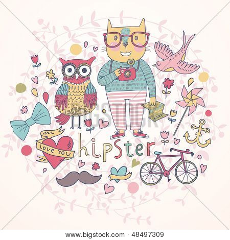 Hipster vector set in cartoon style. Cat with map and camera, owl, bird, bicycle, anchor, hearts and flowers poster