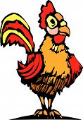 Rooster with bright red and yellow feathers in the farmyard. poster