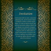 Elegant ornate background with lace seamless ornament for invitations, greeting card, menu. Floral elements, place for text. Vector EPS 10. poster