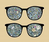 Retro sunglasses with birds and sale reflection in it. Vector illustration of accessory - eyeglasses isolated. poster