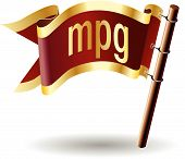 MPG file extension icon on royal vector flag button poster
