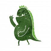 retro cartoon waving swamp monster poster