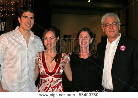 LOS ANGELES - NOVEMBER 2: Brandon Routh and Courtney Ford with Lauren Shuler Donner and Richard Donner at the Screening of