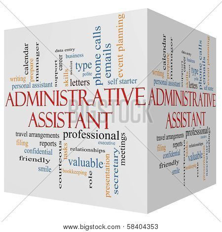 Administrative Assistant 3D Cube Word Cloud Concept
