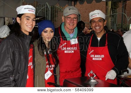 Booboo Stewart, Fivel Stewart, Harrison Ford, Antonio Villaraigosa at the Los Angeles Mission Christmas Eve For The Homeless, Los Angeles Mission, Los Angeles, CA 12-24-12