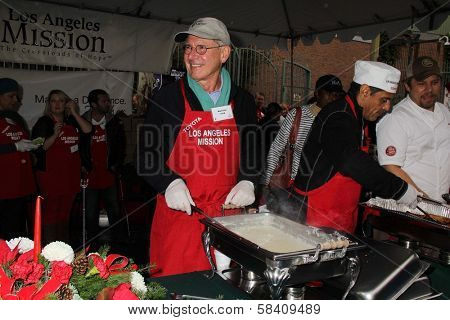 Harrison Ford, Antonio Villaraigosa at the Los Angeles Mission Christmas Eve For The Homeless, Los Angeles Mission, Los Angeles, CA 12-24-12
