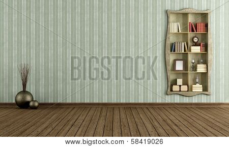 Vintage Room With Old Bookcase