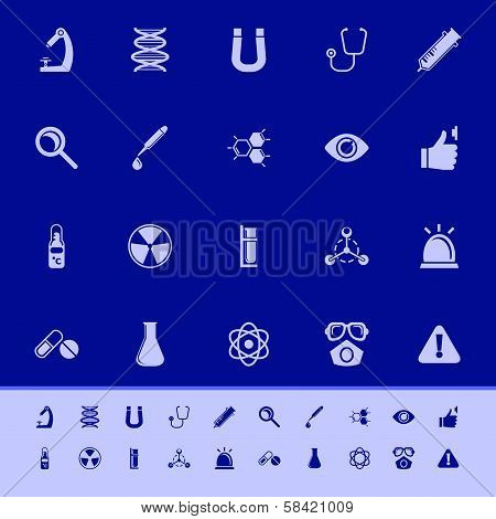 Science Color Icons On Blue Background