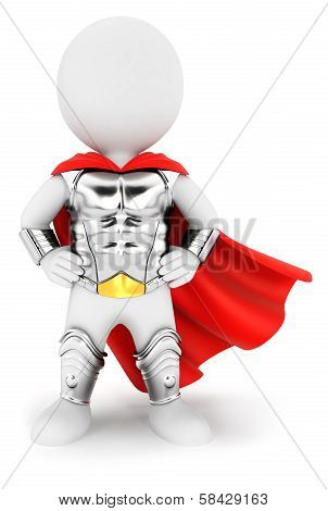 3d white people superhero with an armour