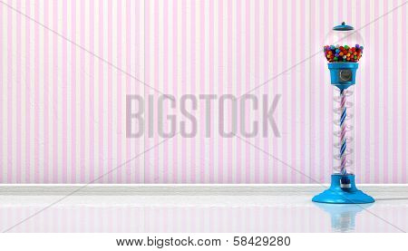 A regular blue vintage gumball dispenser machine made of glass and reflective plastic with chrome trim filled with multicolored gumballs in a retro candy store background with pink striped wallpaper background poster