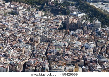 Aerial View Of Malaga Downtown.
