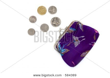 Chinese Purse And Coins