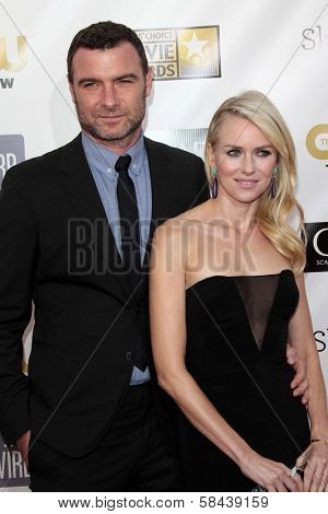Liev Schreiber and Naomi Watts at the 18th Annual Critics' Choice Movie Awards Arrivals, Barker Hangar, Santa Monica, CA 01-10-13