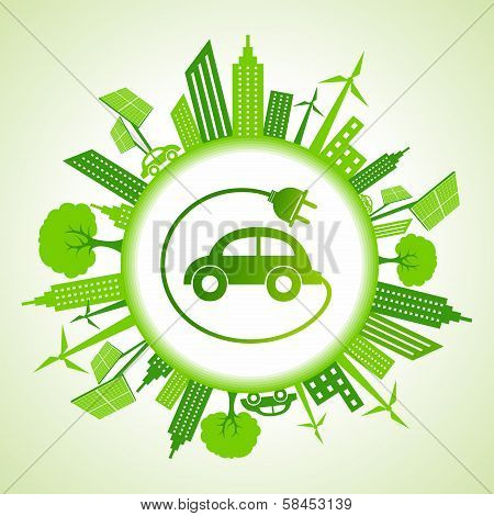 Eco cityscape with electric car