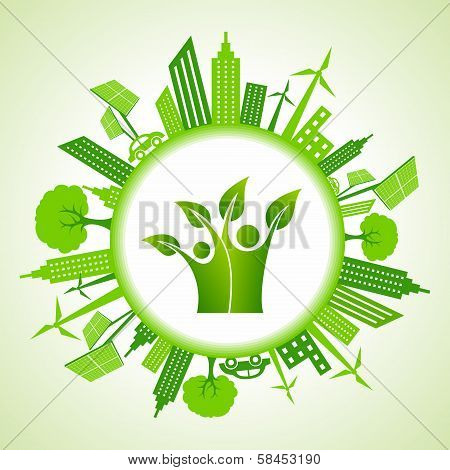 Eco cityscape with green icon