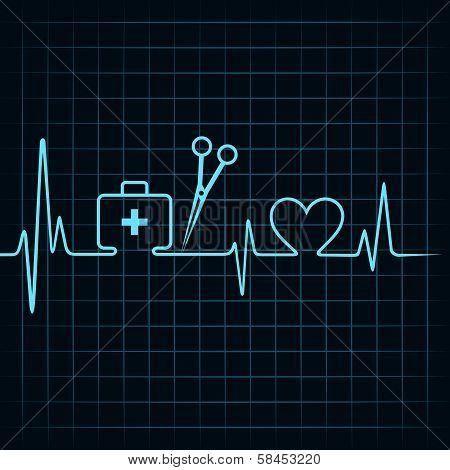 Heartbeat make a first aid box,scissor, and heart symbol