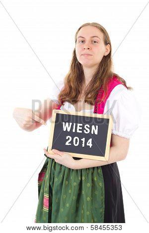 Young Bavarian Woman Shows Blackboard : Wiesn 2014