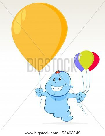 blue spirit with balloons