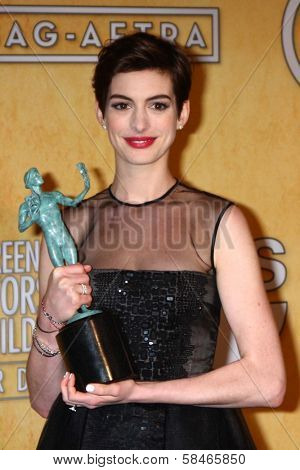 Anne Hathaway at the 19th Annual Screen Actors Guild Awards Press Room, Shrine Auditorium, Los Angeles, CA 01-27-13