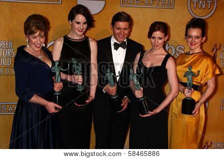 Phyliss Logan, Michelle Dockery, Allen Leech, Amy Nuttall and Sophia McShera at the 19th Annual Screen Actors Guild Awards Press Room, Shrine Auditorium, Los Angeles, CA 01-27-13