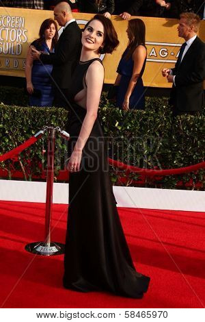 Michelle Dockery at the 19th Annual Screen Actors Guild Awards Arrivals, Shrine Auditorium, Los Angeles, CA 01-27-13