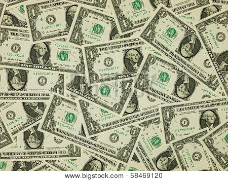 A Pile Of One Dollar Bills As A Money Background