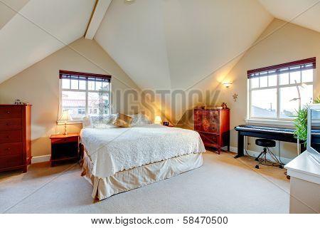 Vaulted Ceiling Elegant Bedroom