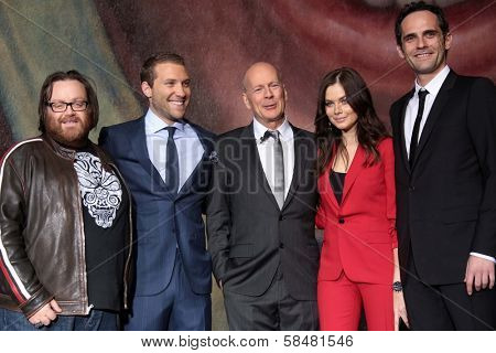 John Moore, Jai Courtney, Bruce Willis, Yuliya Snigir and Rasha Bukvic at the