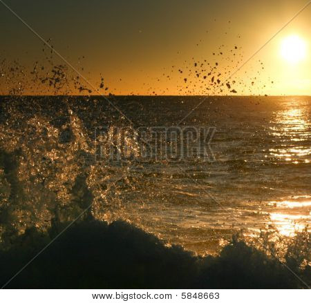 Silhouette Of A Breaking Wave