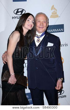 Buzz Aldrin, Carolyn Hollingsworth at the 2013 Clive Davis And Recording Academy Pre-Grammy Gala, Beverly Hilton Hotel, Beverly Hills, CA 02-09-13