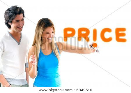 Man And Blond Girl Writing Discount Prices